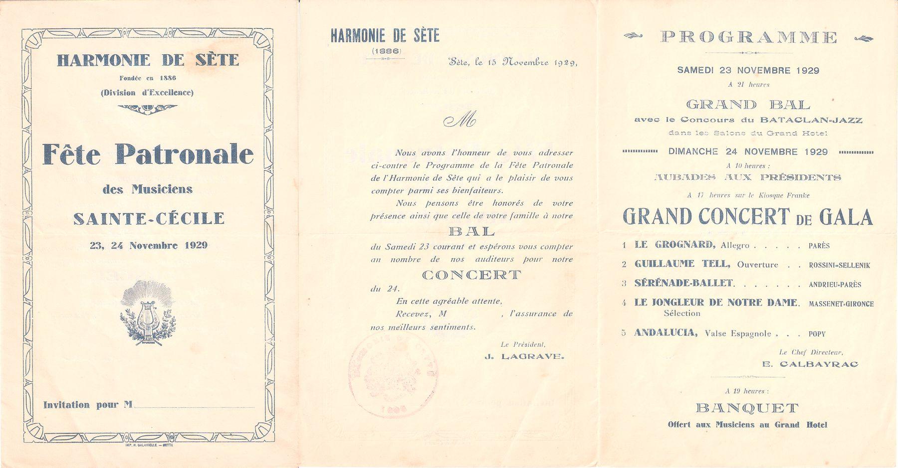 Programme de la fête patronale en 1929