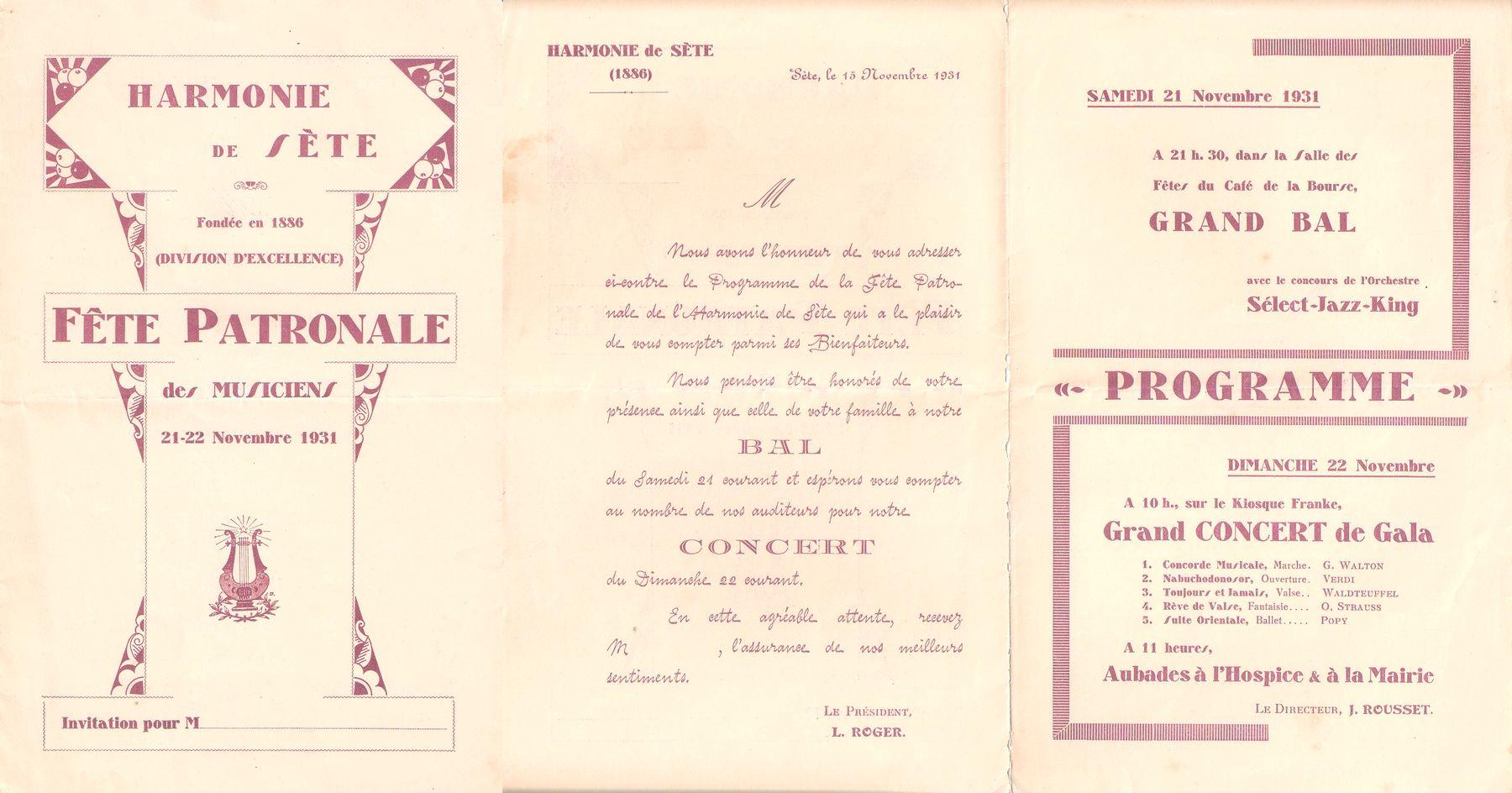 Programme de la fête patronale en 1931