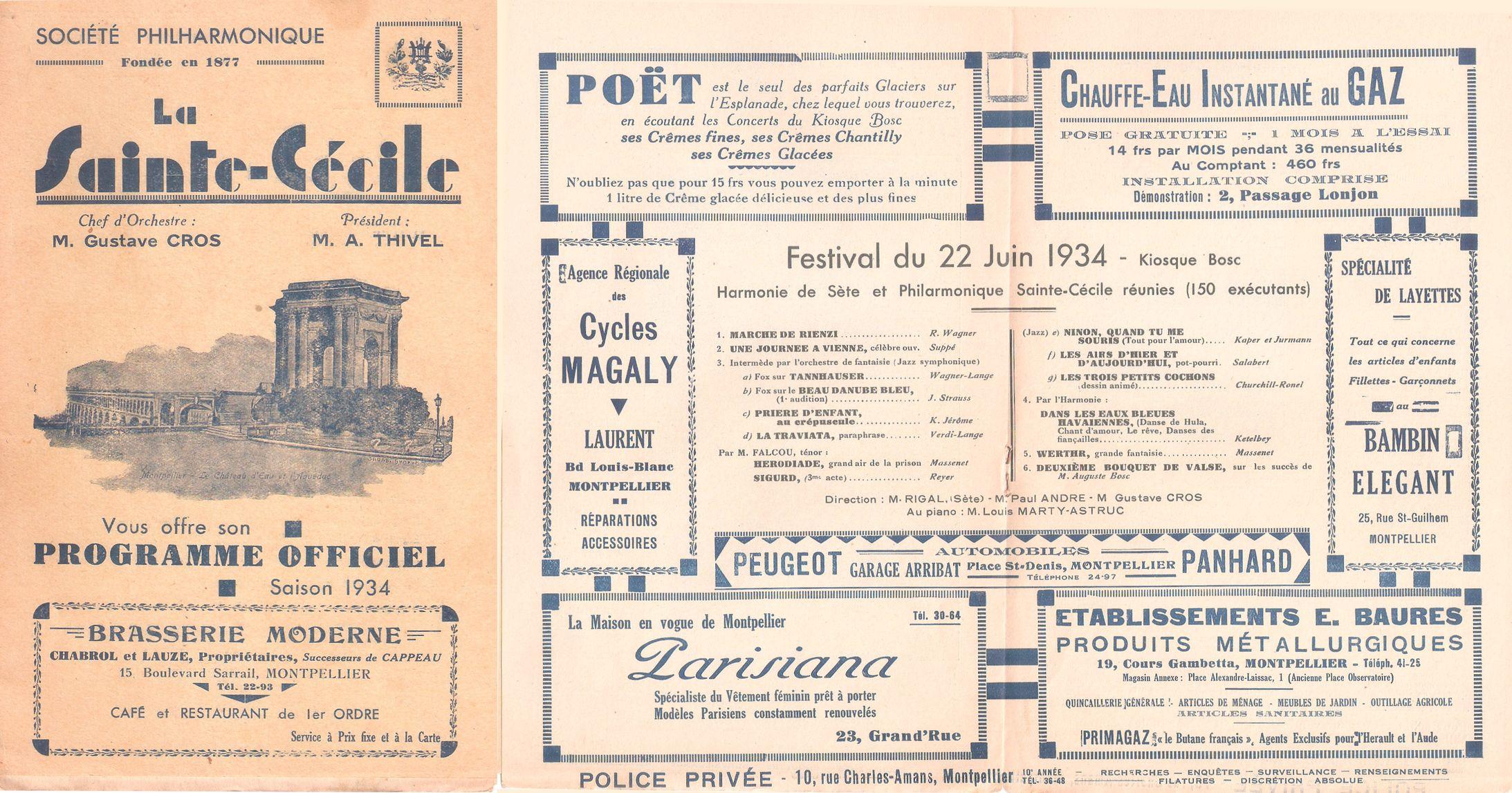 Programme de concert du 22 juin 1934 à Montpellier