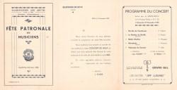 Programme du concert de Sainte-Cécile 1938