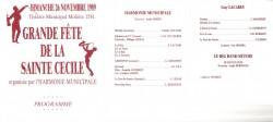 Programme du concert de la Sainte-Cécile 1989