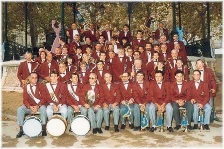 L'Harmonie de Sète sous la direction d'André Simien, devant le kiosque Franke, en octobre 1988